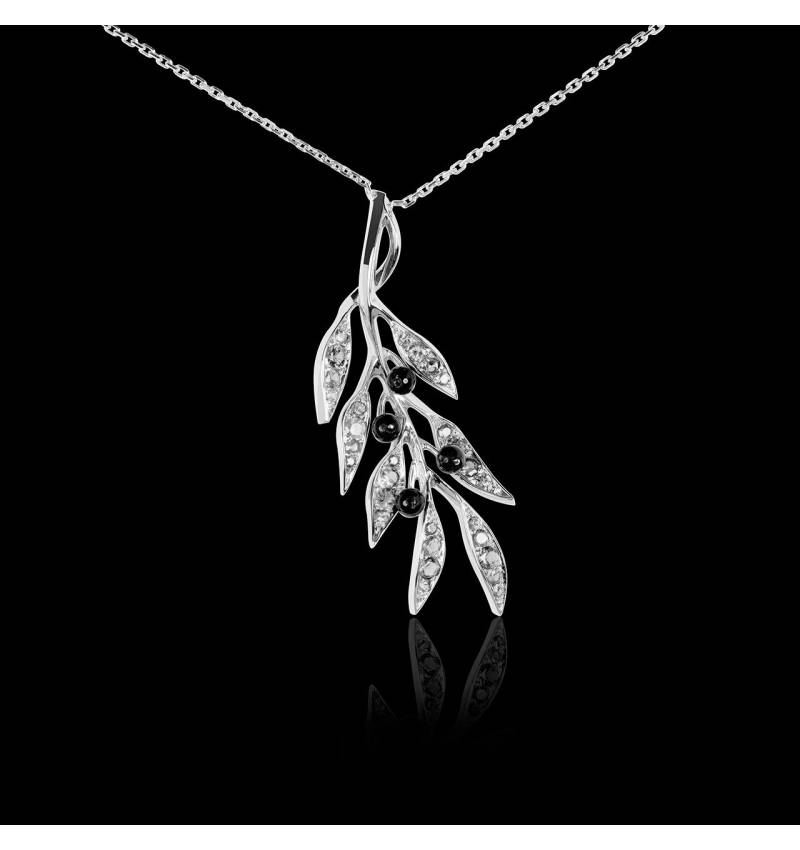 Pendentif pavage diamant et olives en onyx noire or blanc Branche d'Olivier