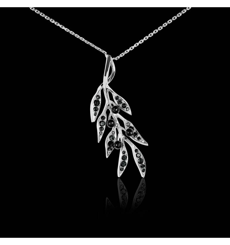 Pendentif pavage diamant noir et olives en onyx noire or blanc 18 K Branche d'Olivier