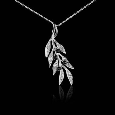 Pendentif pavage diamant et olives en onyx noire or blanc 18 K (4,5 g) Branche d'Olivier