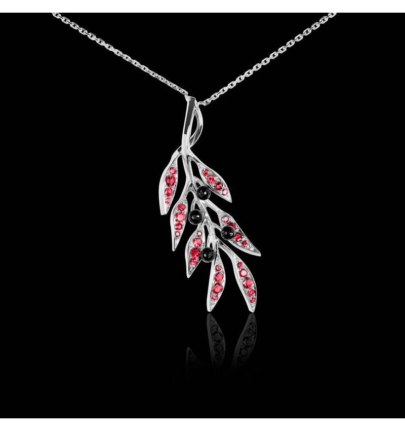 Pendentif pavage rubis et olives en onyx noire or blanc 18 K (4,5 g), chaîne en or 18 K Branche d'Olivier