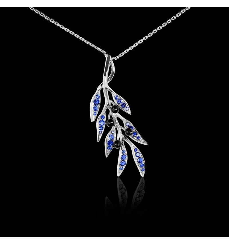 Pendentif pavage saphir bleu et olives en onyx noire or blanc 18K (4,5 g), chaîne en or 18K Branche d'Olivier