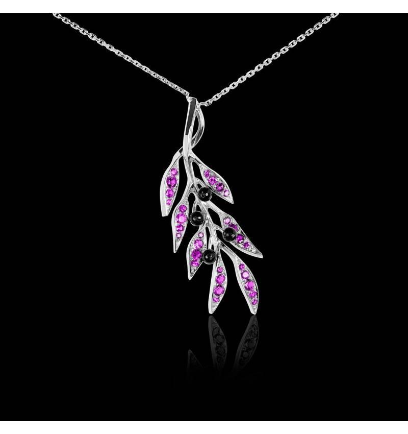 Pendentif pavage saphir rose et olives en onyx noire or blanc 18K (4,5g), chaîne en or 18K Branche d'Olivier