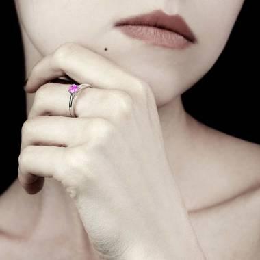 Bague de fiançailles saphir rose or blanc Laureen Solo