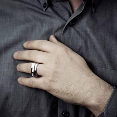 Chevalière Homme pavage diamant 0,5 carats or blanc Sensus