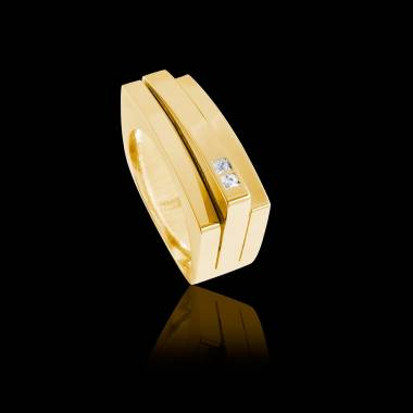Bague Homme pavage diamant 0,6 carats or jaune Sensus