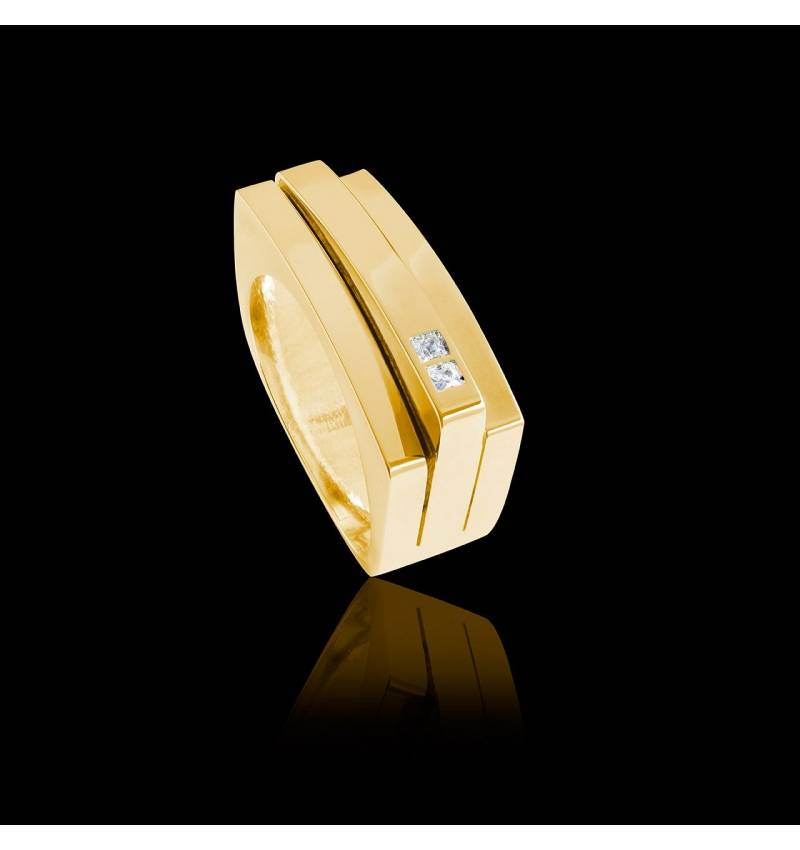 Bague Homme pavage diamant 0,6 carats or jaune Sensus