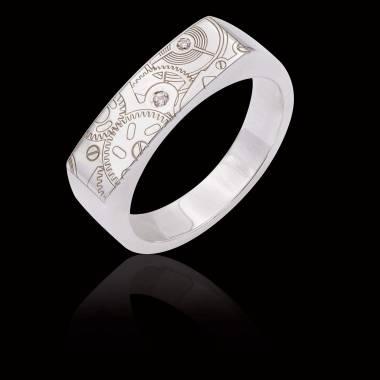 Bague Homme gravure motif de montre pavage diamant 0,5 carats or blanc Complications