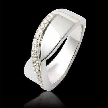 Alliance de mariage pavage diamant 0,5 carat or blanc Eternelle