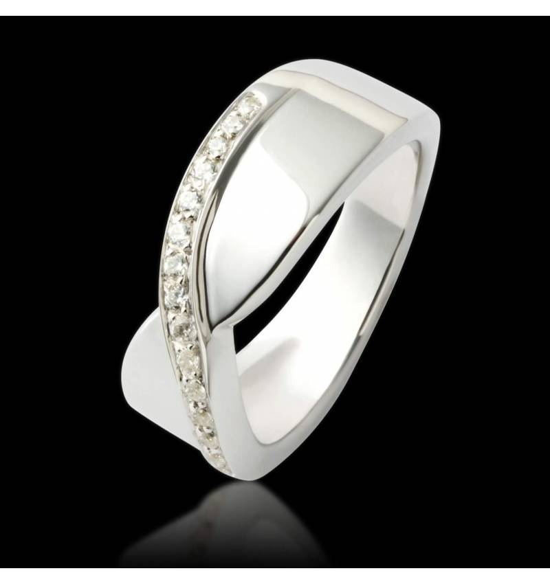 Alliance de mariage pavage diamant 0,5 carat or blanc Eternelle