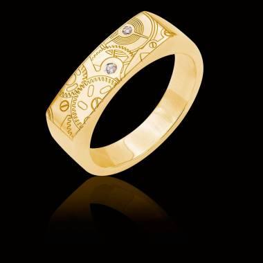 Bague Homme gravure motif de montre pavage diamant 0,6 carats or jaune Complications