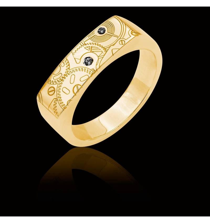 Bague Homme gravure motif de montre pavage diamant noir 0,6 carats or jaune Complications