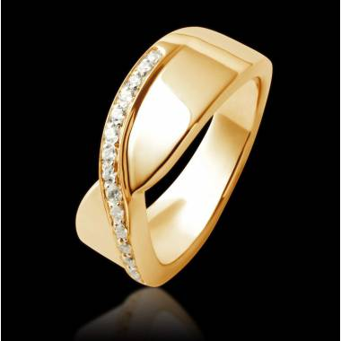 Alliance de mariage pavage diamant 0,6 carat or jaune Eternelle