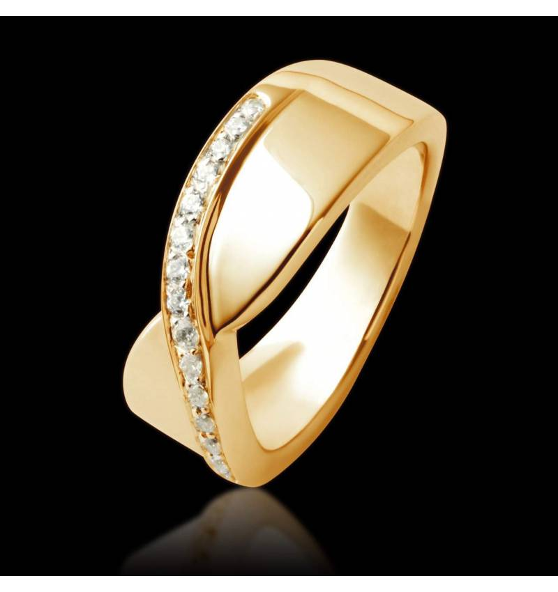 Alliance de mariage pavage diamant 0,6 carat or jaune Eternelle