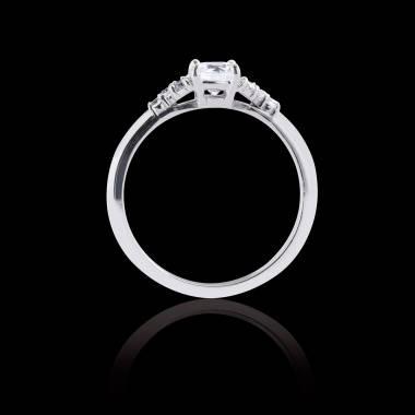 Solitaire diamant pavage diamant or blanc Virginie