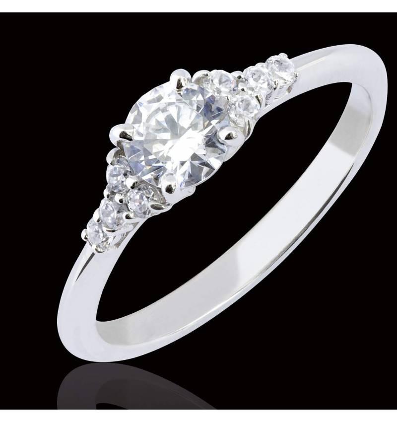 Bague de fiançailles diamant pavage diamant or blanc Virginie