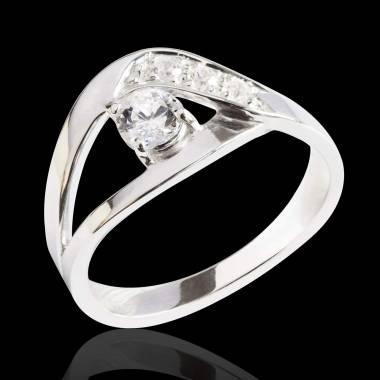 Bague de fiançailles diamant pavage diamant or blanc Anaelle