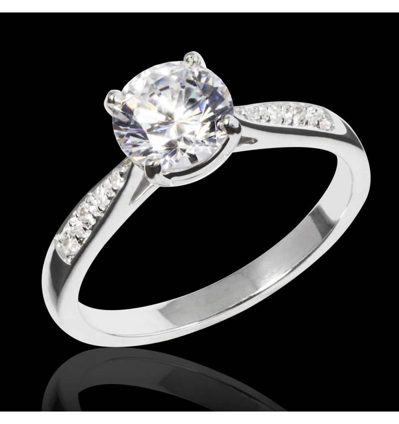 Bague de fiançailles diamant pavage diamant or blanc Angela