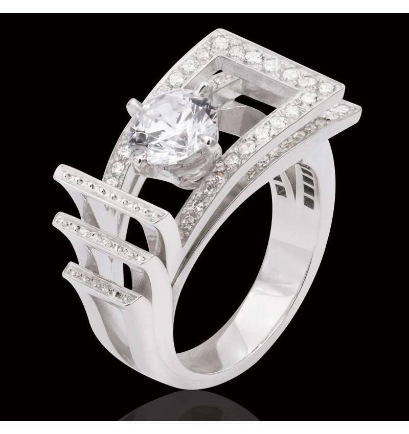 Bague de fiançailles diamant pavage diamant or blanc Romanesque