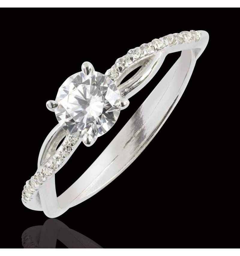 Bague de fiançailles diamant pavage diamant or blanc Noémie