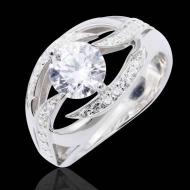 Bague de fiançailles diamant pavage diamant or blanc Ophélie
