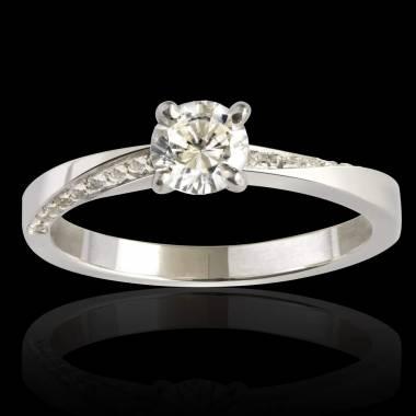 Bague de fiançailles diamant pavage diamant or blanc Meryem