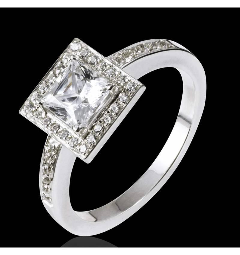 Bague de fiançailles diamant pavage diamant or blanc Perrine