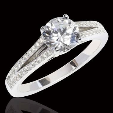 Bague de fiançailles diamant pavage diamant or blanc Marie