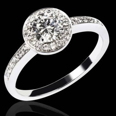 Bague de fiançailles diamant pavage diamant or blanc Rekha