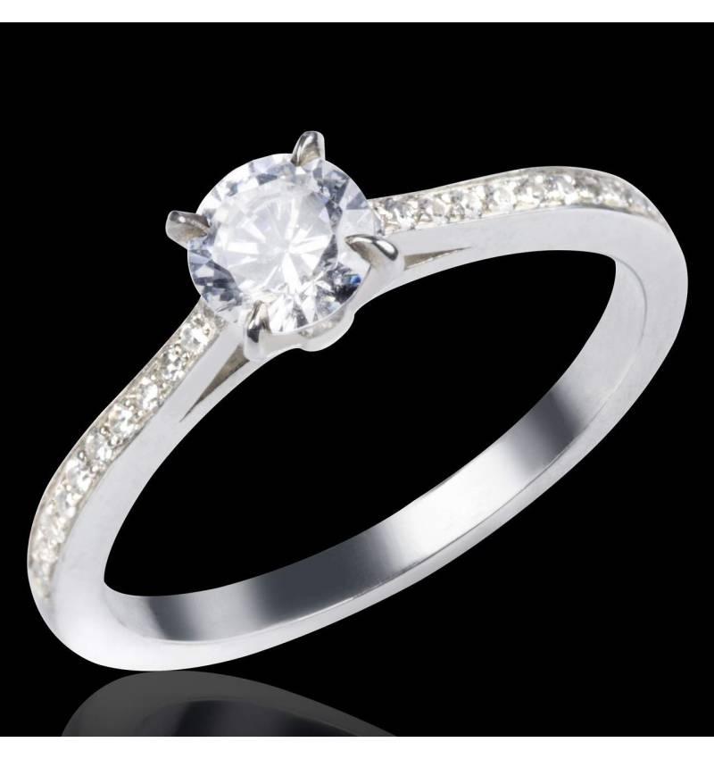 Bague de fiançailles diamant pavage diamant or blanc Elodie