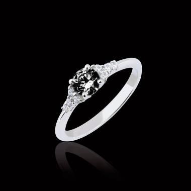 Bague de fiançailles diamant noir pavage diamant or blanc Virginie