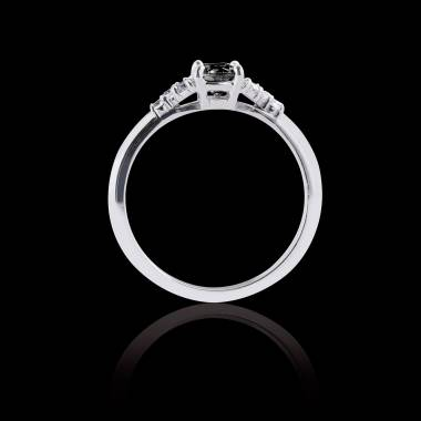 Solitaire diamant noir pavage diamant or blanc Virginie