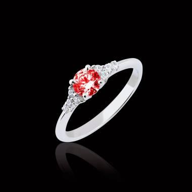 Bague de fiançailles rubis pavage diamant or blanc Virginie