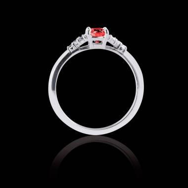 Solitaire rubis pavage diamant or blanc Virginie