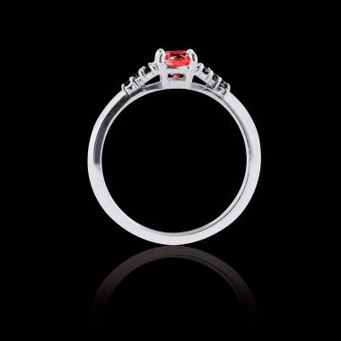 Solitaire rubis pavage diamant noir or blanc Virginie