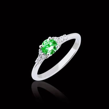 Bague de fiançailles émeraude pavage diamant or blanc Virginie
