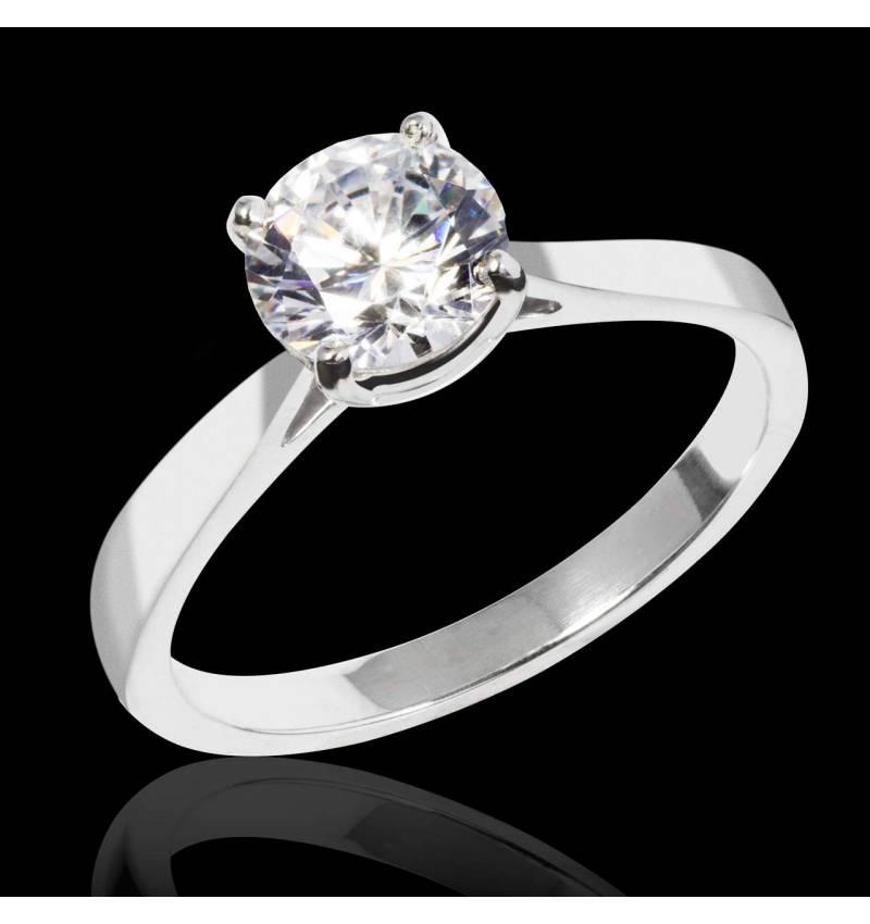 Bague de fiançailles diamant or blanc Angela Solo