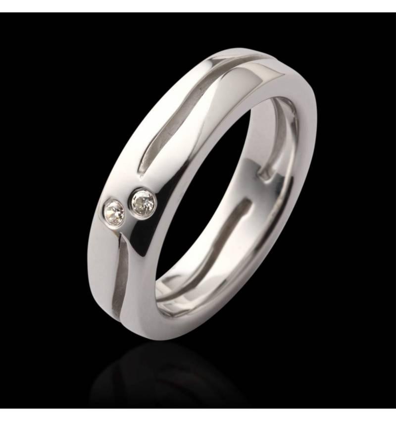 Alliance de mariage pavage diamant 0,5 carat or blanc Etoiles Filantes