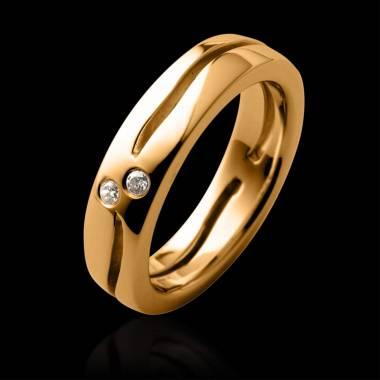 Alliance de mariage pavage diamant 0,6 carat or jaune Etoiles Filantes