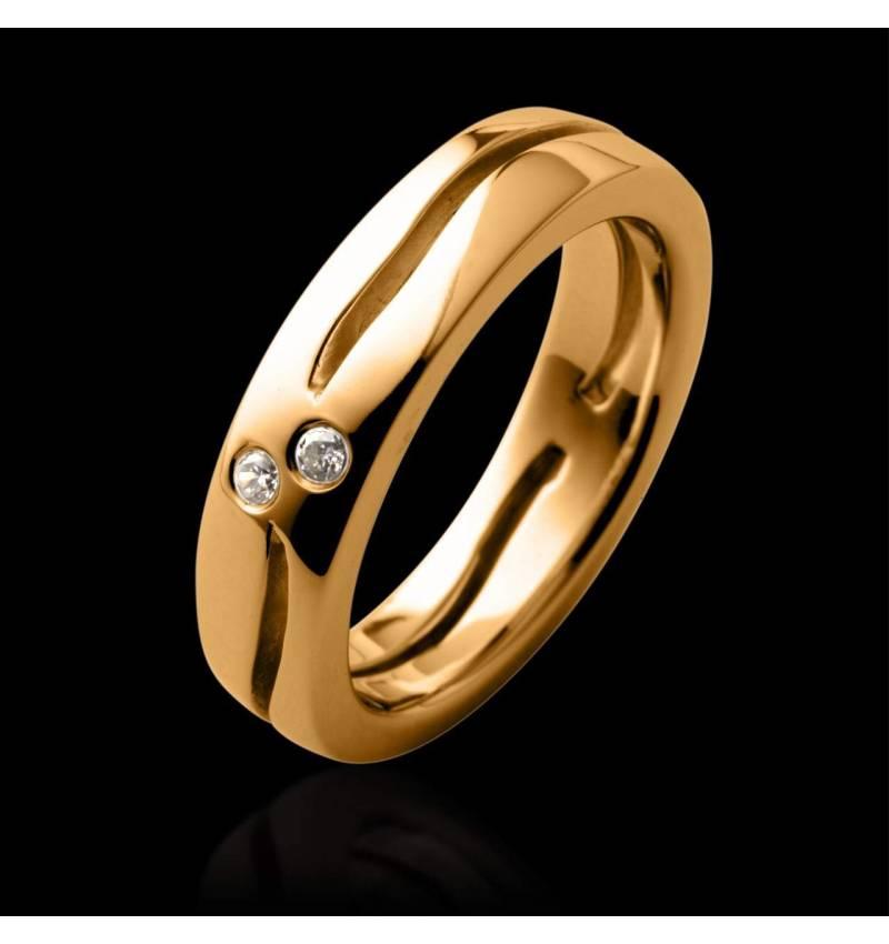 Alliance pavage diamant or jaune Etoiles Filantes