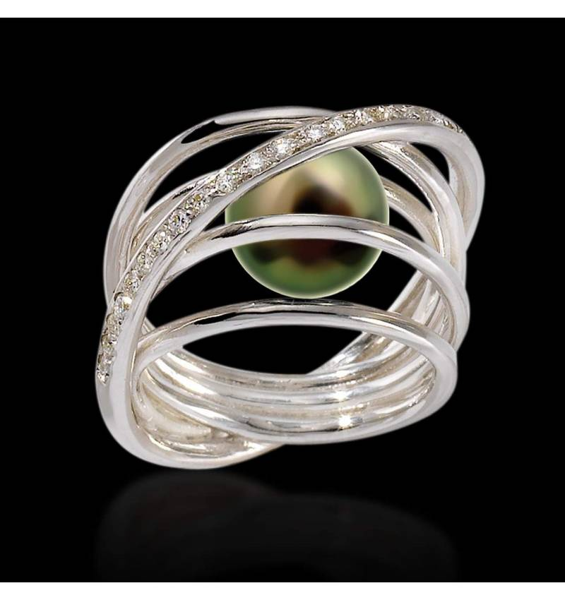 Bague de fiançailles perle Tahiti noire pavage diamant or blanc Cache Cache