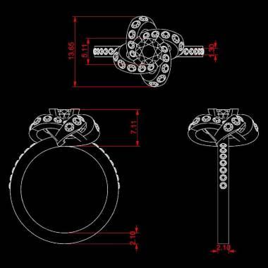 Bague de fiançailles rubis pavage diamant or blanc Chloé