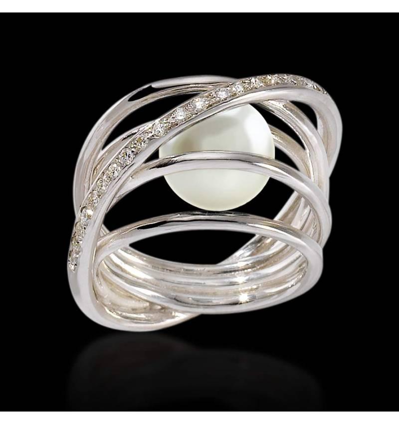 Bague de fiançailles perle blanche pavage diamant or blanc 18K Cache Cache