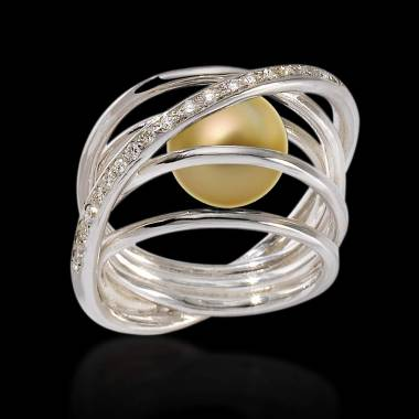 Bague de fiançailles perle gold pavage diamant en or blanc 18K Cache Cache