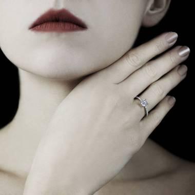 Bague fiançailles diamant or blanc Manon