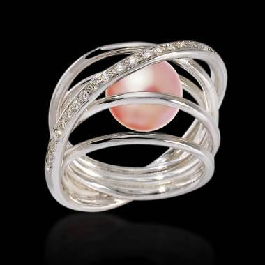 Bague de fiançailles perle rosée pavage diamant en or blanc 18 K Cache Cache