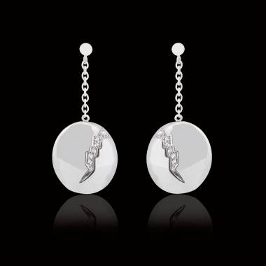Boucles d'oreilles pavage diamant or blanc Quake