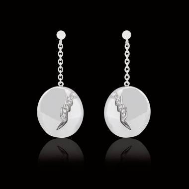 Boucles d'oreilles pavage diamant or blanc Quake
