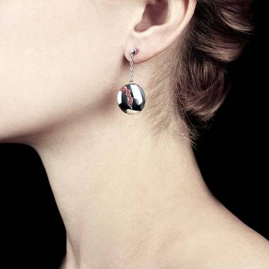 Boucles d'oreilles pavage rubis or blanc 18K Quake