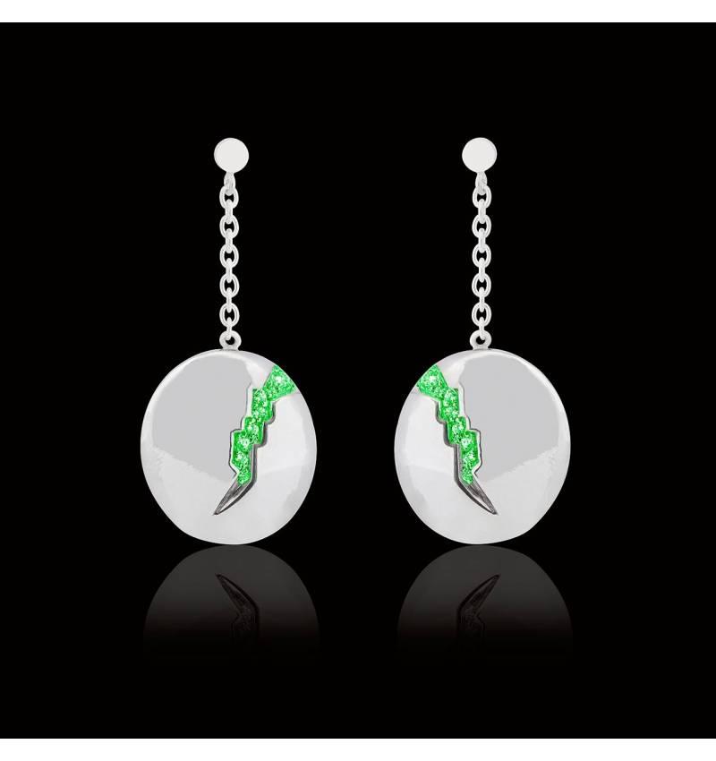 Boucles d'oreilles pavage émeraude or blanc 18K (9,7g) Quake