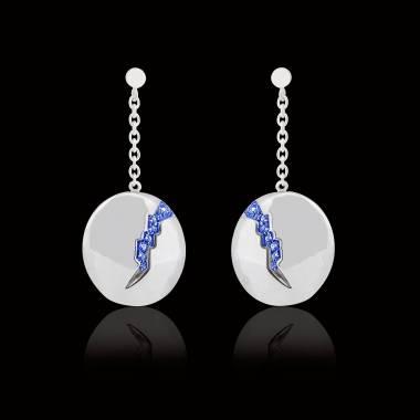Boucles d'oreilles pavage en saphir bleu or blanc 18K (9,7g) Quake